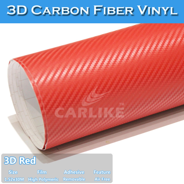 1.52x30m Red For Sale Sheets Of 3d Carbon Fibre Vinyl