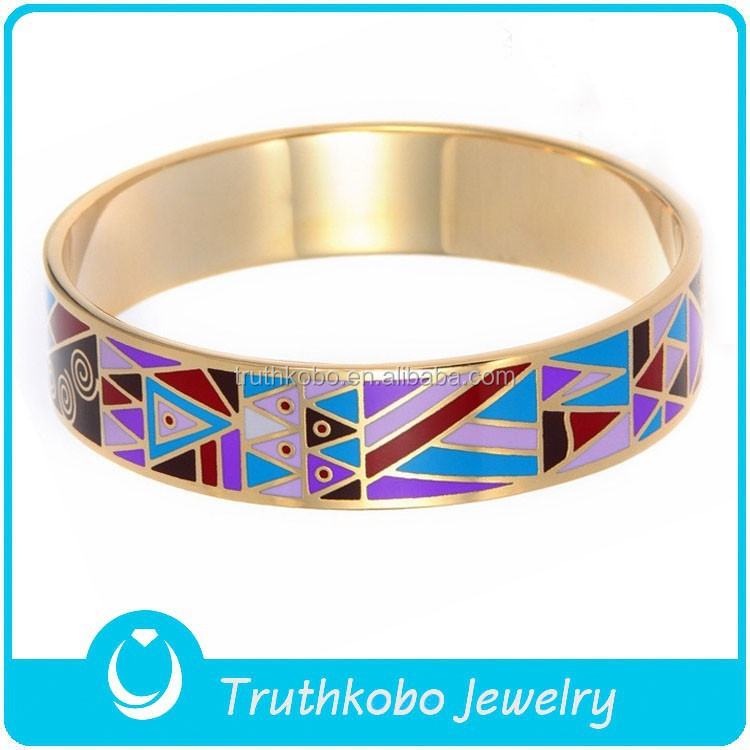 F-BA0047 Colorful Triangle Pattern Custom Rose Gold Enamel Jewelry Bangle Bangles Images