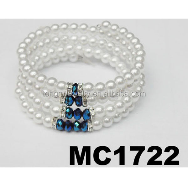cheap crystal bead memory wire faux pearl bracelet bulk wholesale