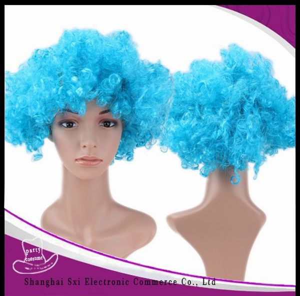 China supplier manufacture crazy selling colorful football fan wigs