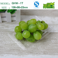 High quality rectangular disposable small pet plastic fruit packaging tray with lid