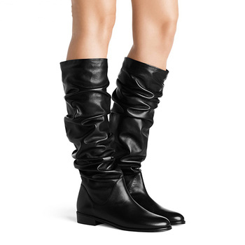 lady black fashion knee <strong>boots</strong> fold cool girl flat <strong>boots</strong> winter shoes
