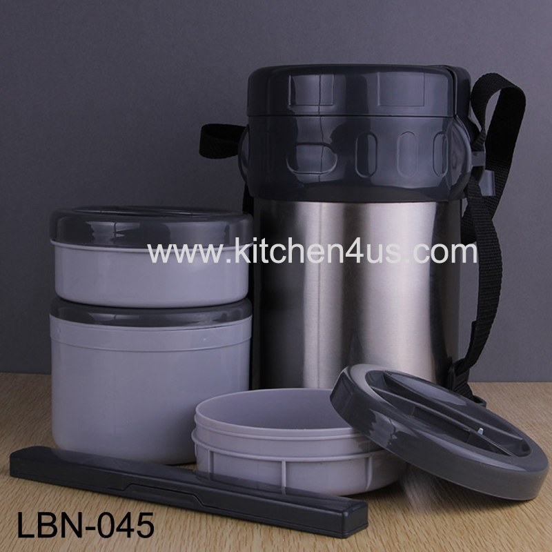 2L Stainless steel 3 layers collopsible lunch box/tiffin box/food container with chopstick insulated bag