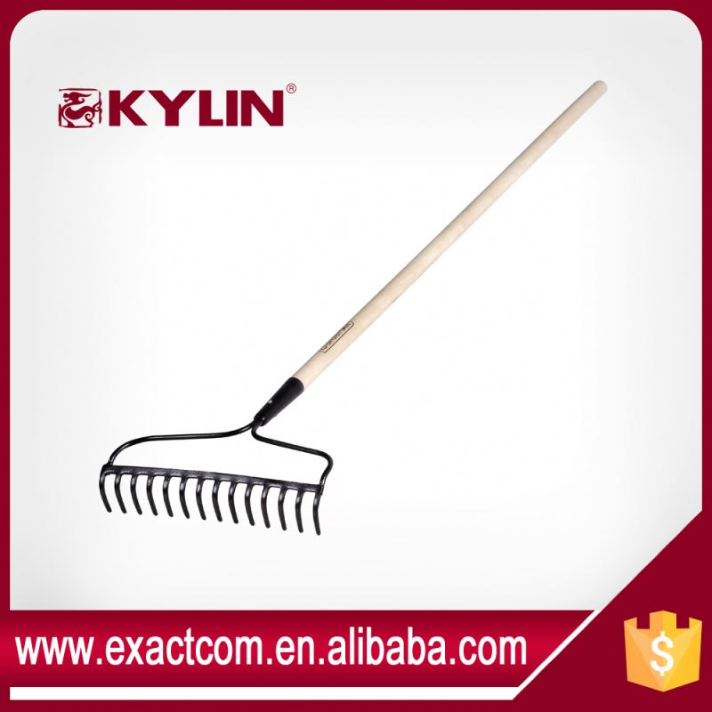 Agricultural Land Clearing 14 Teeth Garden Rake With Handle