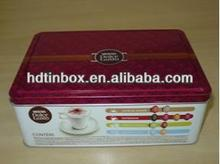 Decorative cookie tin box with embossing