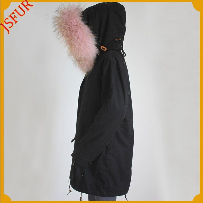 Cute Pink Raccoon Fur Collar Women Parka For Coat Parka Fabric