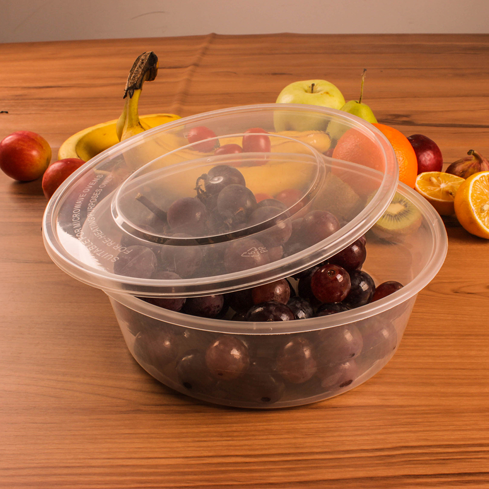 Taizhou factory Offer good delivery time disposable round airtight plastic food container with lid