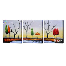 Abstract multi panel canvas painting tree