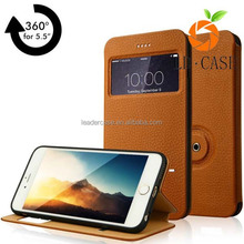 New 360 universal flip PU or genuine leather cover phone case for Iphone 6 and 6S 5.5inch