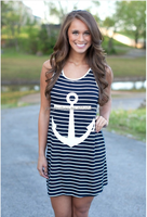 Girls Sleeveless anchor trunk stripe waistcoat dresses