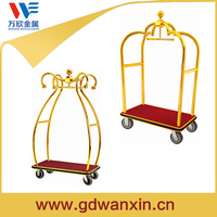 Foldable Durable Golden Hotel Luggage Trolley For Sale