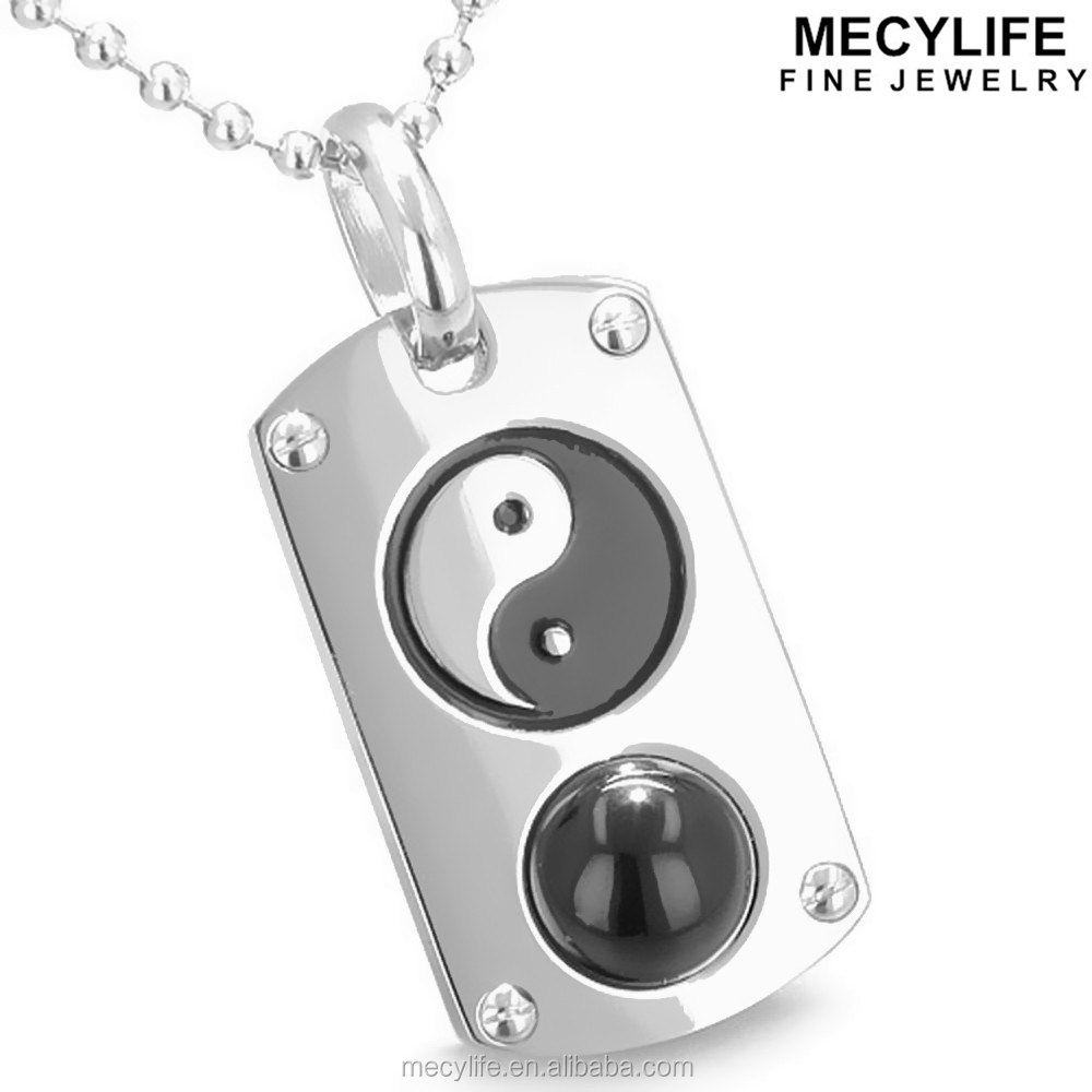 MECYLIFE Cat Eye Stone Inlay Stainless Steel Yin Yang Dog Tag Necklaces