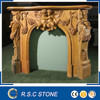 French hand carved yellow marble fireplace mantel