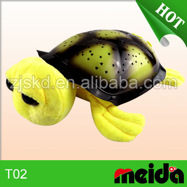 Quality OEM welcome plush stuffed singing big eye turtle night light toys for kids