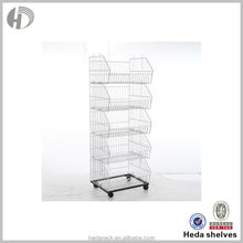 Wholesale 5-tier metal wire basket carts with 4 wheels