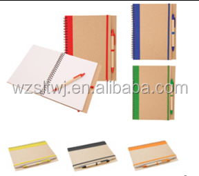 Cartoon notebook Eco friendly recycled notebook with pen