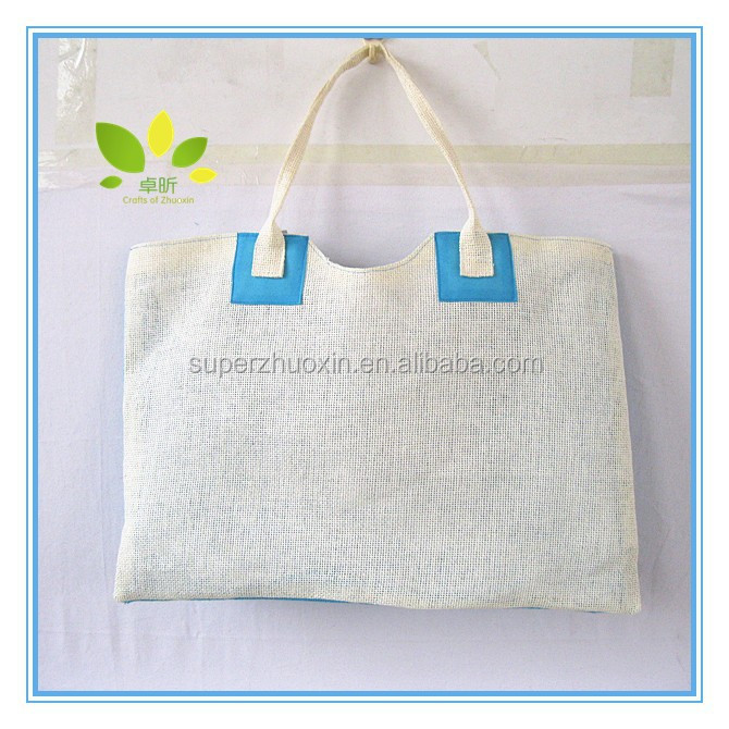 Promotional eco-friendly plain white paper straw bag