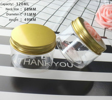 transparent plastic pet smell proof empty cosmetic jars gold caps 120ml face mask jar 120g food container 4 oz jar