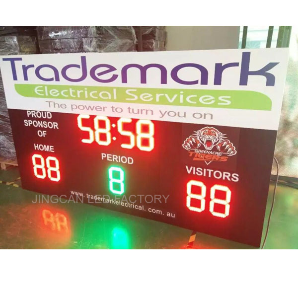 Customized Outdoor LED scoreboard with 12' number and P10 full color LED screen bar
