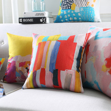 Rainbow Color Cushion Cover Geometric Plaids Art Cushion Covers Sofa Throw Decorative Beige Linen color changing cushion
