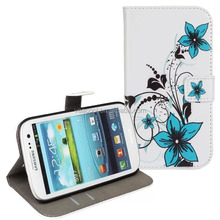 Flower Design PU Stand Wallet Leather Case for Samsung Galaxy S3 i9300 case