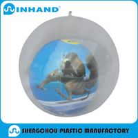 Promotional customized pvc inflatable transparent beach ball with inside car soft vinyl beach ball with 3D animal insertion