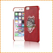 New Arrival 3D Embroidery Flirting Eyelashes Lips Tiger Wolf Leopard Pattern Leather Phone Case For Iphone 7