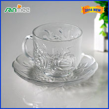 Cheap Clear Glass Material Machine Made Glass Tea Cup Set
