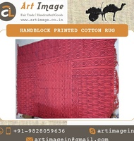 Hand Block Printed Cotton Rug for Sale