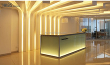 Modern smart design glass U shape LED lights beauty salon front table reception area countertop desk(T8-series)