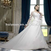 Satin deep V neck wedding dresses with 3 4 length sleeves plus size