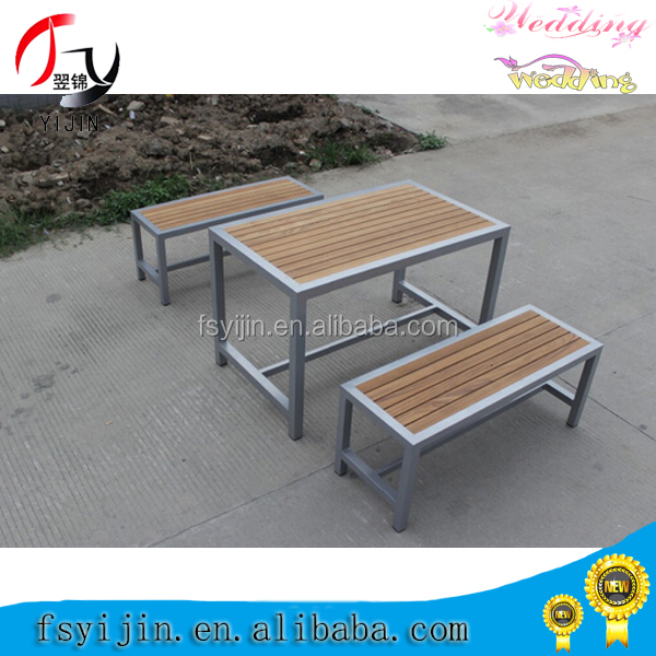 Hot sale high quality outdoor stainless steel teak table with bench