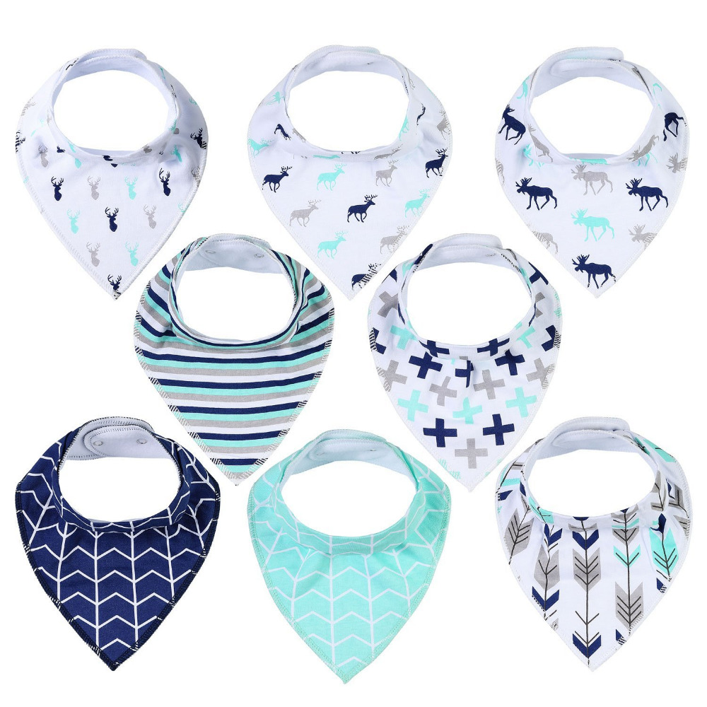 4 6 8 <strong>10</strong> pack eco friendly organic cotton fleece flannel plaid baby bandana drool bibs set for boy girl unisex babies