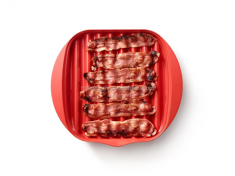 FDA food grade silicone Microwave Bacon and Meat Grill Plate