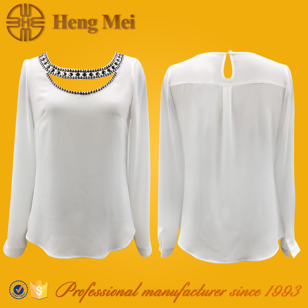 Ladies casual newest style long blouse neck models