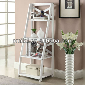 MDF wood white bookshelf ladder