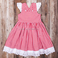 New design 100% woven cotton childrens boutique clothes baby girls red plaid flutter sleeve dresses