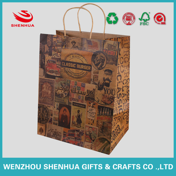 economic and friendly brown kraft packaging shopping paper bag with paper handles