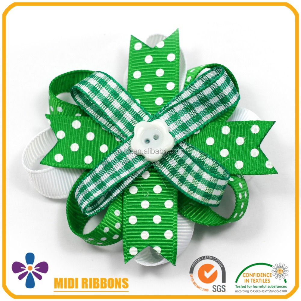 St. Patrick's Day Kids Green and White Ribbon Bow French Hair Barrette Clip