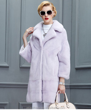 Female Full Length Real Mink Fur Coat Womens
