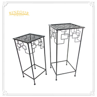 Wrought antique metal garden patio plant stand square set