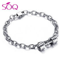 Fitness Dumbbell Bracelet Stainless Steel Link Chain Gym Motivation Bracelet Athlete Workout Jewelry