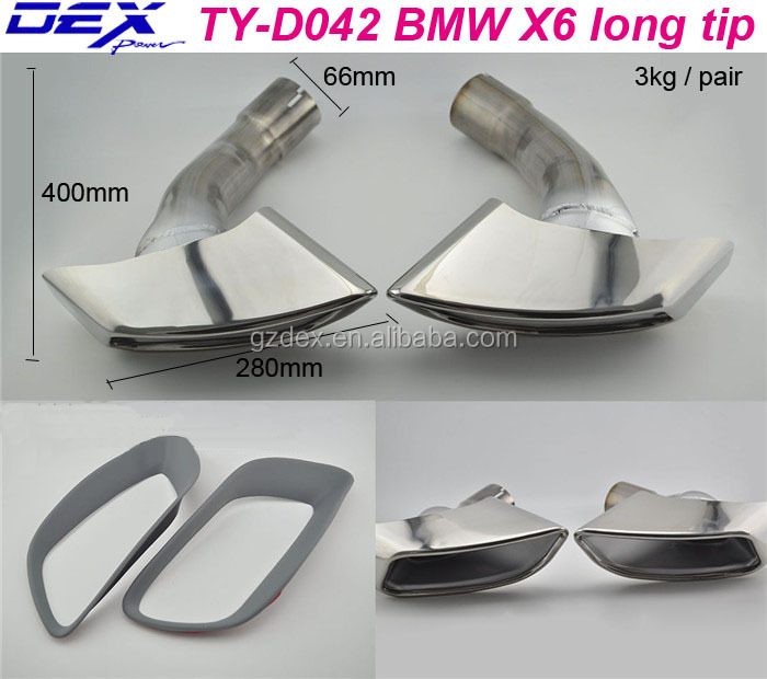 Racing car parts muffler silencer pipe for B-MW X6 long tips