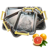 3-pcs stainless steel flower tray /fruit tray /sevring tray with handle