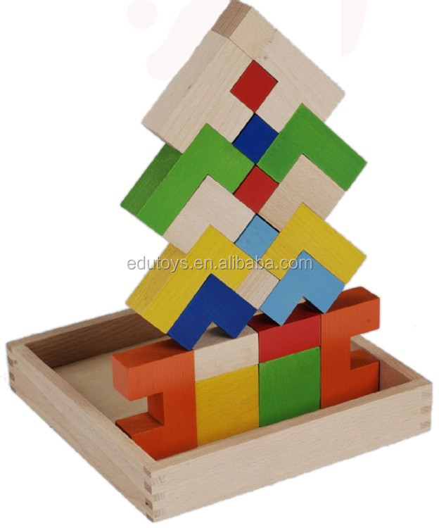 Eco-friendly Educational Wooden Blocks Toy Kids Creativity Puzzle