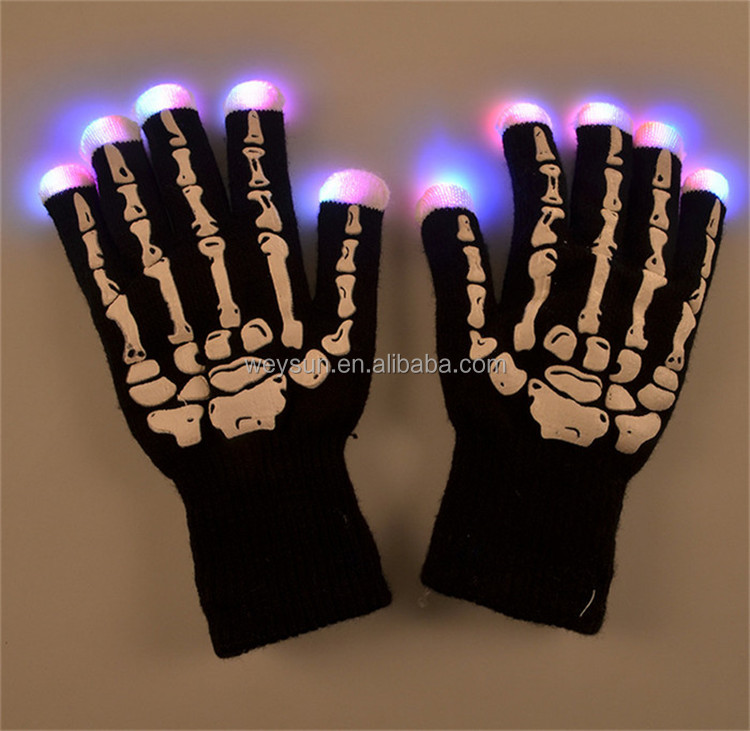 LED Gloves Fingers Light Gloves Halloween Dark Gloves With Bulbs