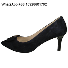 New deign Glamour Metal trim Suede Pointed Stiletto Women pump shoes TL44