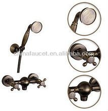 Antique Brass Cross Handle Bath Tub Faucet +Hand Shower BL1301B