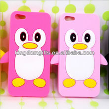 new design 3D fashion penguin shape Silicone phone cover phone case