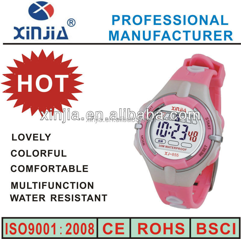 lovely and colorful women flashing plastic digital custom hand watch for girls